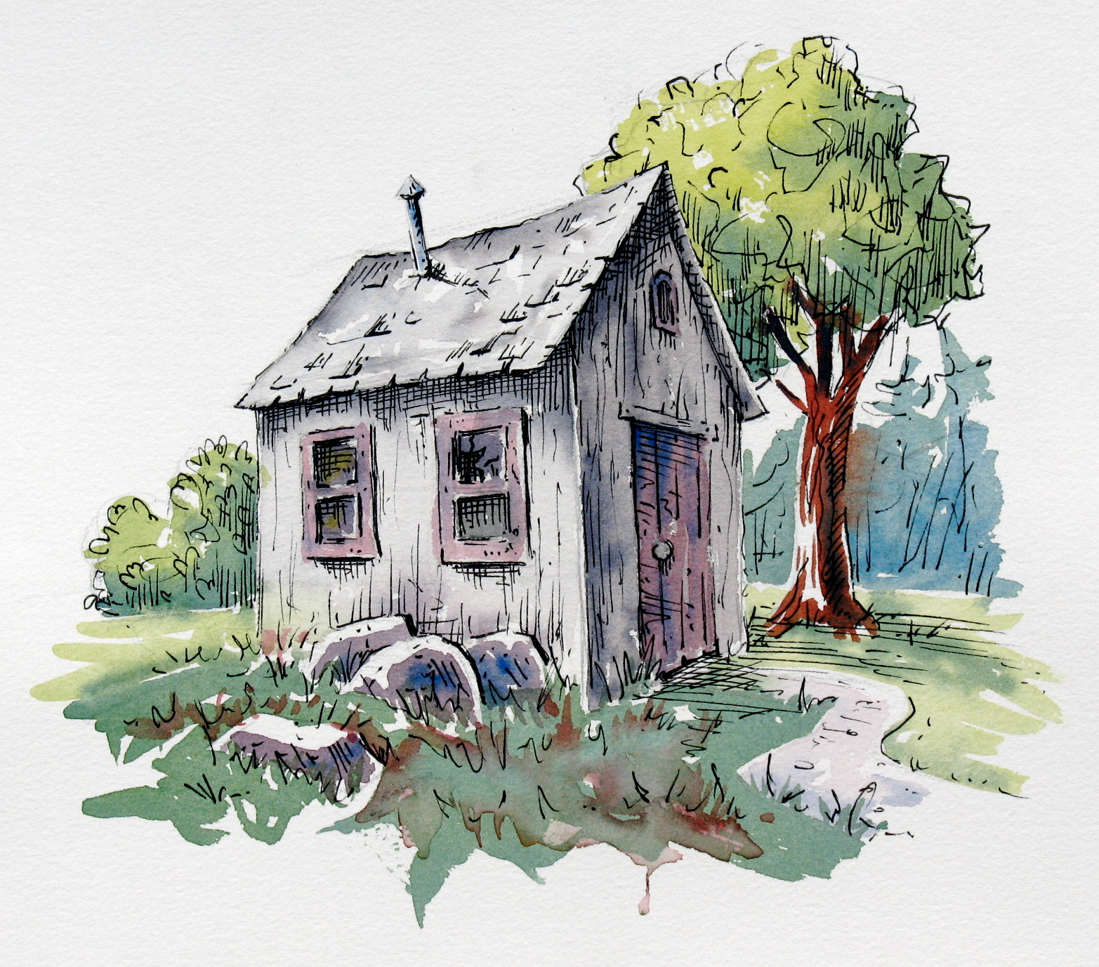 Line Drawing With Watercolor : Blue mountain pen and watercolour barry coombs art