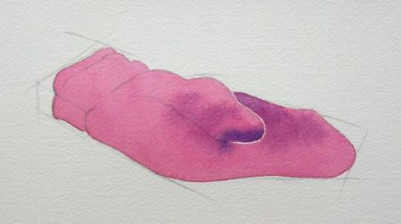 Step one of mitten - w/c demo by Barry Coombs - WinterTuesWk4