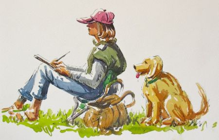 Artist and Friend-Pen & Watercolour by Barry Coombs