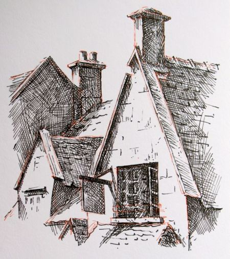 Pen and ink sketch by Barry Coombs-Cotswolds2013