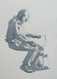 Step one of pen and w/c demo by Barry Coombs-Cotswolds2013