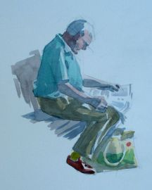 Step two of pen and w/c demo by Barry Coombs-Cotswolds2013
