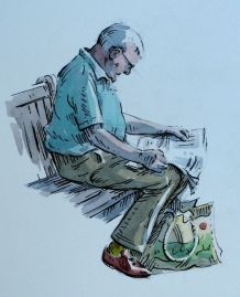 Step three of pen and w/c demo by Barry Coombs-Cotswolds2013