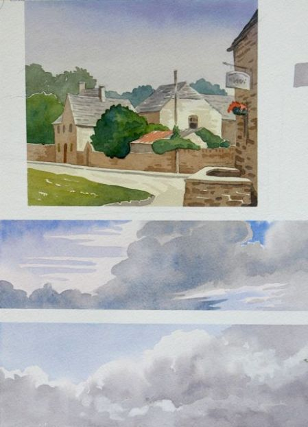 Watercolour demo sheet by Barry Coombs-Cotswolds2013