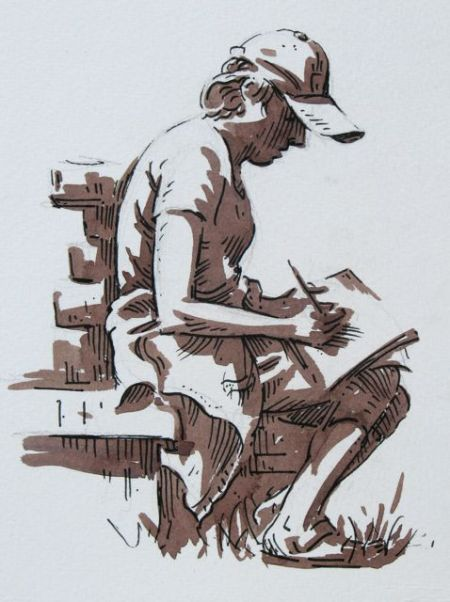 Pen and watercolour demonstration by Barry Coombs-GM2013