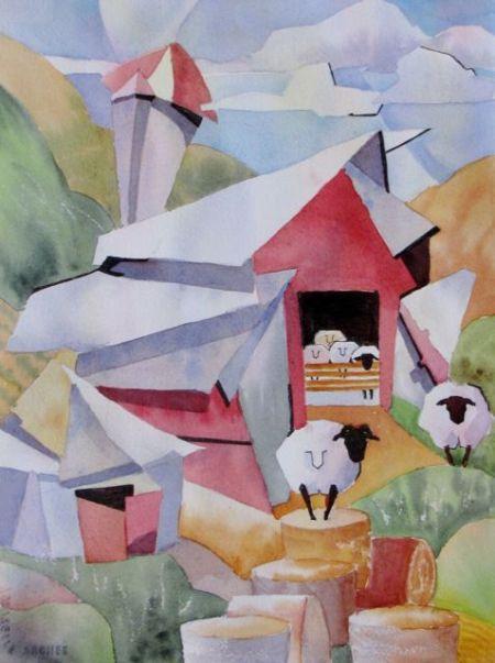 Cubist Barn by Nancy Newman