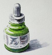 Ink Bottle - Pen and watercolour by Barry Coombs - WGA2013