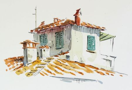 Watercolour and pen demonstration by Barry Coombs