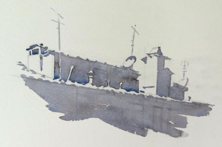 Step one of pen and watercolour demonstration by Barry Coombs