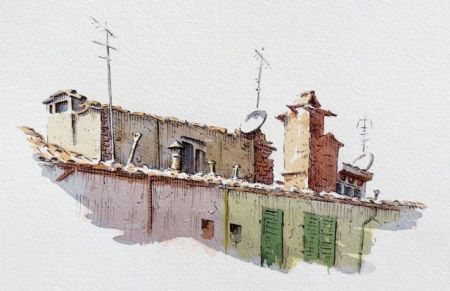 Step three of pen and watercolour demonstration by Barry Coombs
