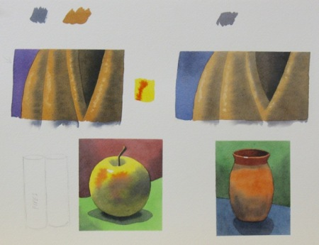 Watercolour demonstration sheet by Barry Coombs