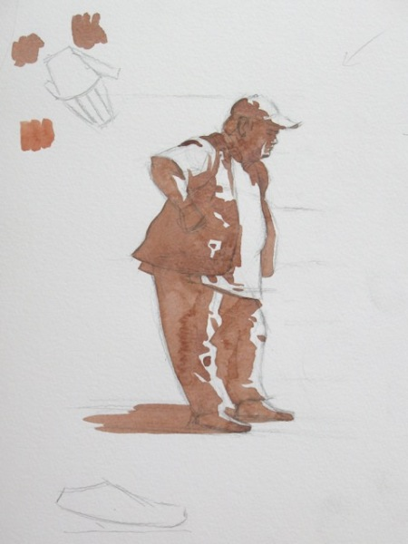 Step one of pen and wash demonstration by Barry Coombs