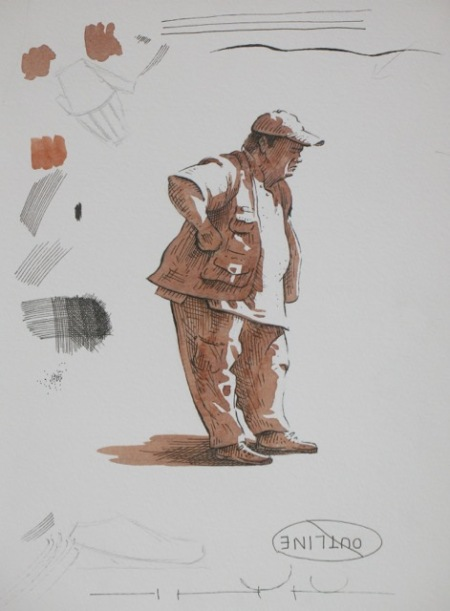 Step two of pen and wash demonstraton by Barry Coombs