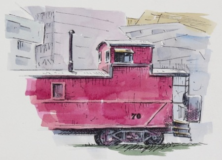 Pen and watercolour demonstration by Barry Coombs