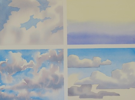 Sky in watercolour demonstration by Barry Coombs