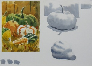 Fall Tuesday Watercolour Class – More Gourds!