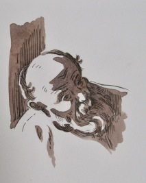 Step two of pen and wash demonstration by Barry Coombs