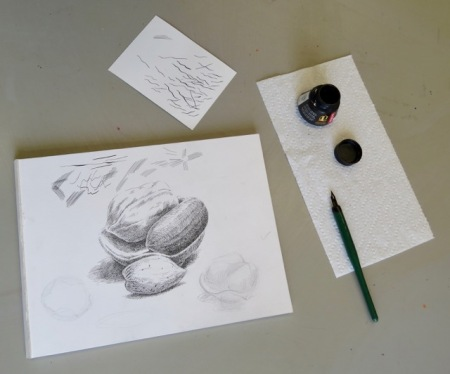 Step three of pen and ink demonstration by Barry Coombs